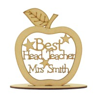 Laser cut Personalised 'Best Head Teacher' Etched Apple with stars on a stand - 150mm