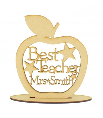 Laser cut Personalised 'Best Teacher' Apple with stars on a stand - 150mm