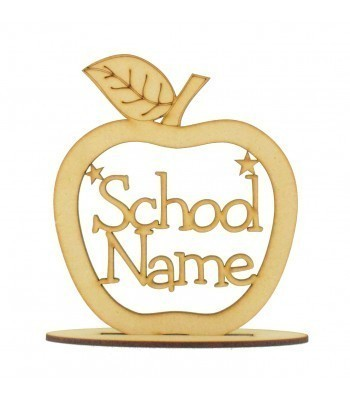 Laser cut Personalised School Name Apple with stars on a stand
