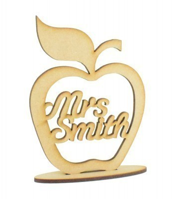 Laser cut Personalised Teachers Apple Frame on a stand