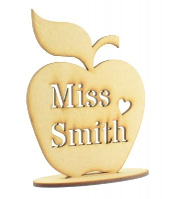 Laser cut Personalised Teachers Name Stencil Cut on a freestanding apple