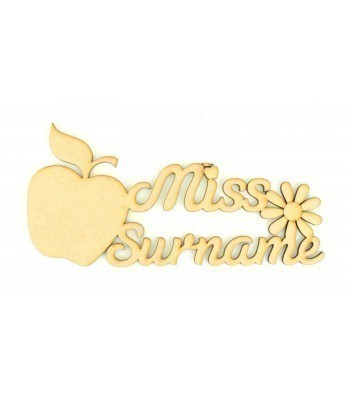 Laser Cut Personalised Teacher Sign With Apple