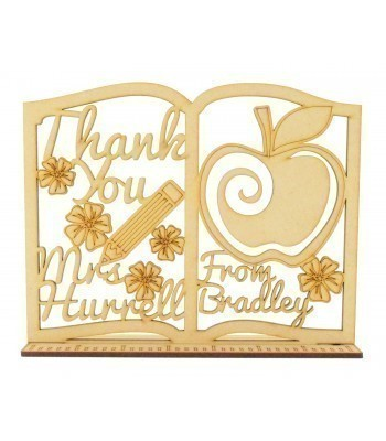 Laser cut Personalised Teachers 'Thank You' Book on a Ruler Stand