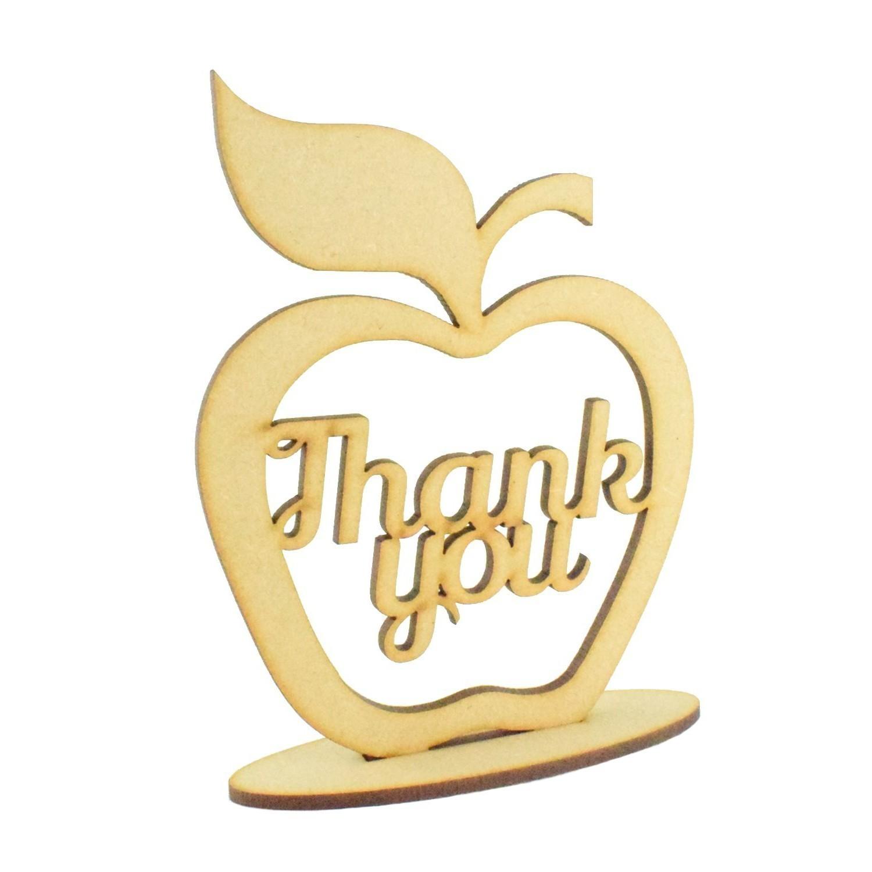Teachers Gift Best Teacher Apple Shape on a Stand Wooden MDF Craft Shape