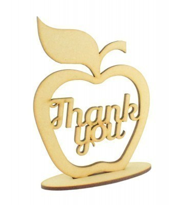 Laser Cut 'Thank you' Apple on a Stand