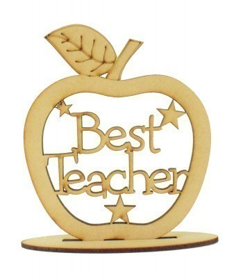 Laser Cut 'Best Teacher' Apple Shape on a Stand - 150mm