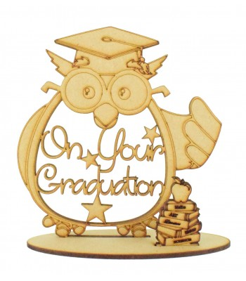 Laser Cut 'On Your Graduation' Owl Shape and Books on a Stand