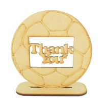 Laser Cut 'Thank You' Etched Football on a Stand