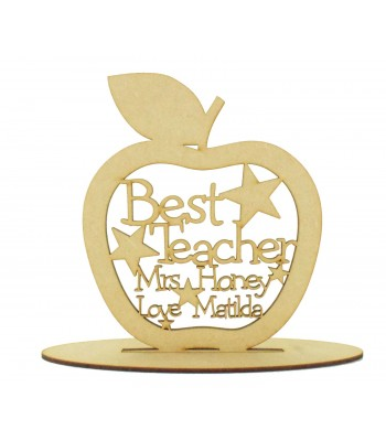 Laser cut Personalised Large 'Best Teacher' Apple with stars on a stand - 200mm