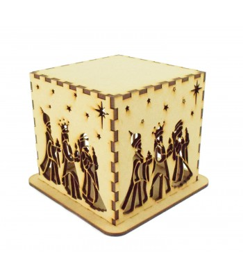 Laser cut Tea Light Box - Christmas Three Kings Nativity Design