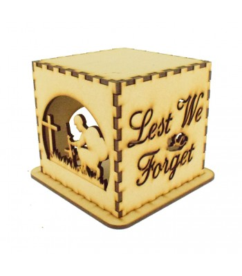 Laser cut Tea Light Box - 'Lest We Forget' Remembrance Soldier Design