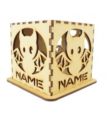 Laser cut Personalised Halloween Tea Light Box - Bat Design