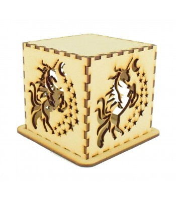 Laser cut Tea Light Box - Unicorn Design