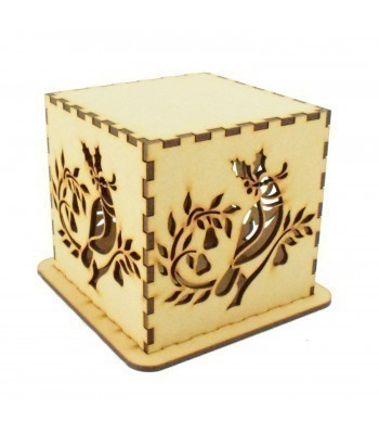 Laser cut Tea Light Box - Christmas Partridge in a Pear Tree Design