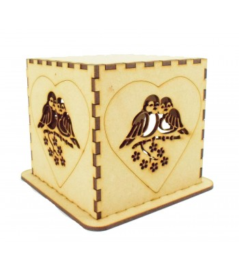 Laser cut Tea Light Box - Love Birds in a Heart Design