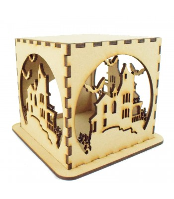 Laser cut Halloween Tea Light Box - Haunted House Design