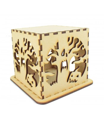 Laser cut Halloween Tea Light Box - Spooky Tree