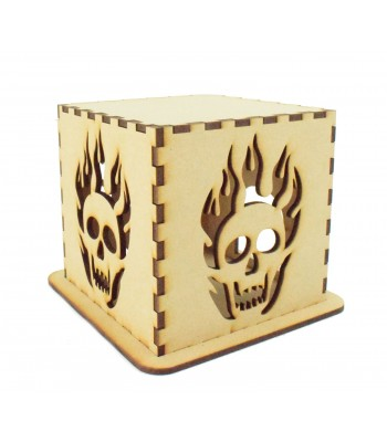 Laser cut Halloween Tea Light Box - Skull with Flames