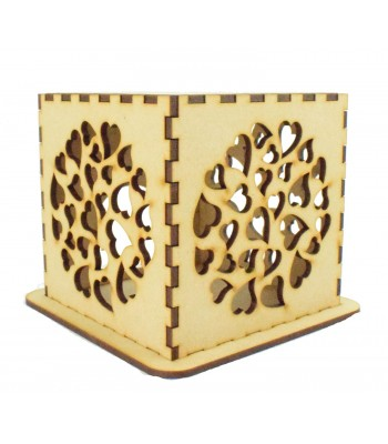 Laser cut Tea Light Box - Multi Heart Design