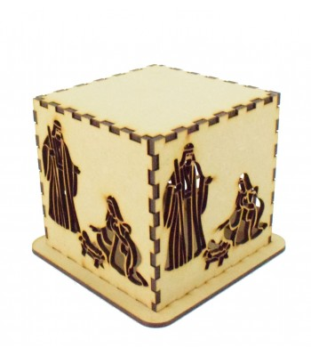 Laser cut Tea Light Box - Christmas Nativity Design