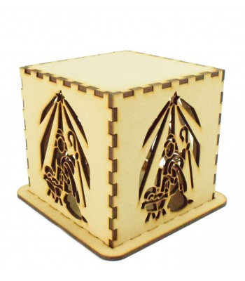Laser cut Tea Light Box - Christmas Nativity with Star of Bethlehem Design