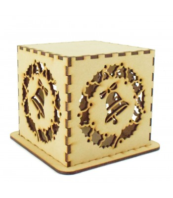 Laser cut Tea Light Box - Christmas Wreath with Bell Design