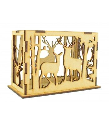 Laser Cut Stag Design Rectangle Tealight Box