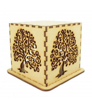 Laser cut Tea Light Box - Love Heart Tree Design