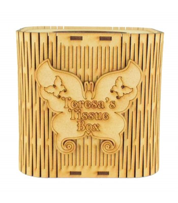 Laser Cut Cube Tissue Box With Personalised Butterfly Plaque