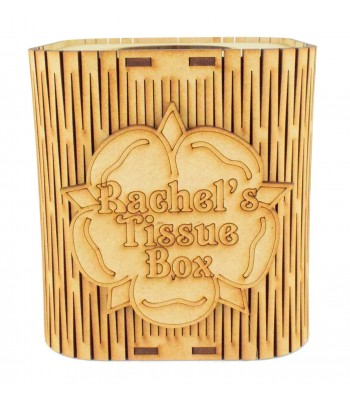 Laser Cut Cube Tissue Box With Personalised Flower Plaque