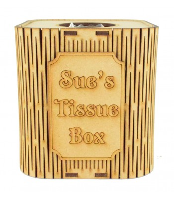 Laser Cut Cube Tissue Box With Personalised Plaque