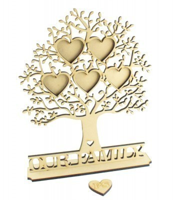 Laser Cut Personalised Family Tree with Heart Photo Frames On Stand - 6mm thickness