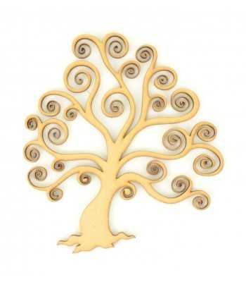 Laser Cut Detailed Swirl Tree with Roots