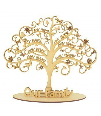 Laser Cut Personalised 'Our Family' Tree in a stand