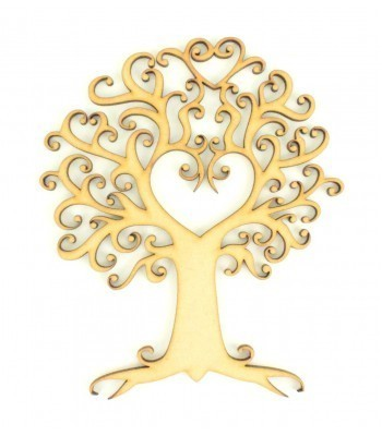 Laser Cut Swirls and Heart Tree Design - Design 21
