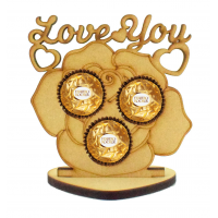 6mm 'Love You' Valentines Rose Ferrero Rocher Holder on a Heart Stand