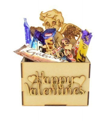 Laser Cut Valentines Hamper Treat Boxes - Cupid Shape