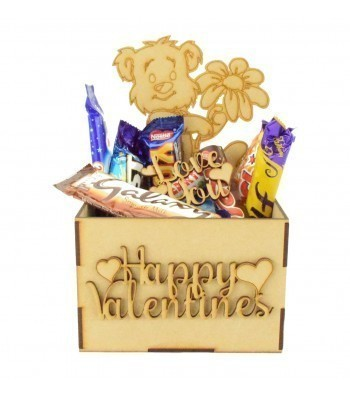 Laser Cut Valentines Hamper Treat Boxes - Teddy with Flower Shape