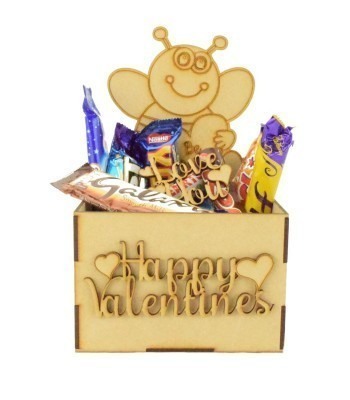 Laser Cut Valentines Hamper Treat Boxes - 'Be Mine' Bee Shape