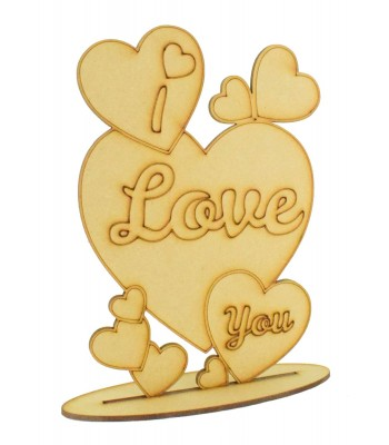 Laser Cut 'I Love You' Etched Multi-Hearts Joined on a stand