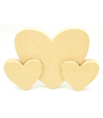 18mm Freestanding MDF Heart with 2 small linking Hearts