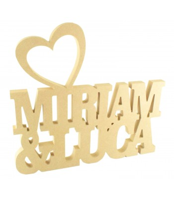 Freestanding MDF Personalised Couples Names with Heart on Top (CLA)