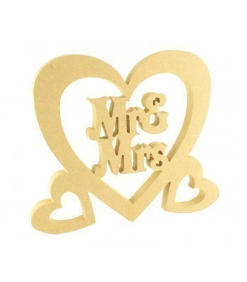 18mm Freestanding MDF Large Wedding 'Mr & Mrs' inside Heart