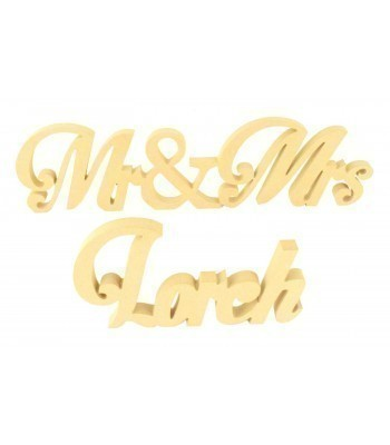 Freestanding MDF Personalised Freestanding Mr&Mrs with Surname (Script - 150)