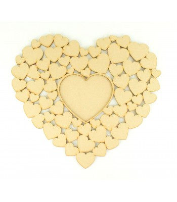 Laser Cut 'Love You' Heart of Hearts Wedding Guestbook Alternative with Photo Frame Center
