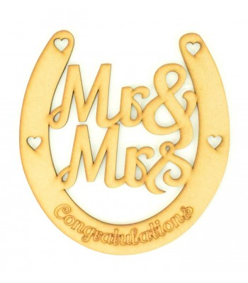Laser Cut Mr & Mrs Wedding Horseshoe - Congratulations