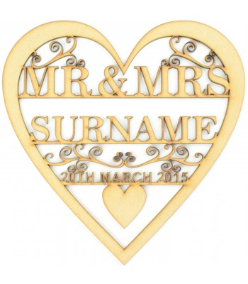 Laser Cut Personalised Mr&Mrs Heart with swirl detail - Surname & Date