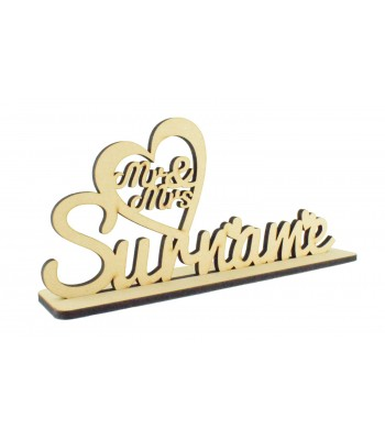 Laser Cut Personalised Mr & Mrs... Surname Wedding Sign on stand
