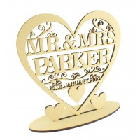 Laser Cut Large Personalised Mr&Mrs Heart with swirl detail on a stand - Surname & Date
