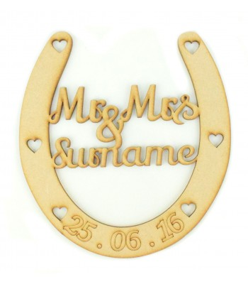 Laser Cut Personalised Mr & Mrs Horseshoe with Name & Date